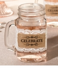Set of 6 Burlap Glass Celebrate Wrap