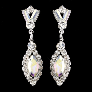 Silver AB & Clear Marquise Baguette Round Rhinestone Drop Earrings