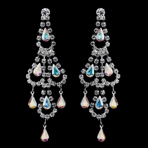 Silver AB & Clear Teardrop Rhinestone Chandelier Earrings