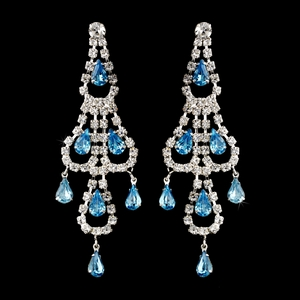 Silver Aqua & Clear Teardrop Rhinestone Chandelier Earrings