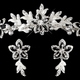 Silver Black Accent Floral Tiara Headpiece & Jewelry Set with White Pearl and Rhinestone