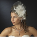 Silver Clear Crystal & Ivory Feather Fascinator Bridal Hat
