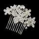 Silver Clear Floral Comb