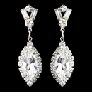 Silver Clear Marquise Baguette Round Rhinestone Drop Earrings