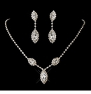 Silver Clear Marquise Rhinestone Necklace & Earrings
