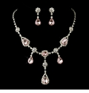 Silver Clear & Pink Necklace & Earrings