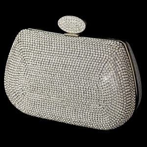 Silver Clear Rhinestone Encrusted Front Evening Bag
