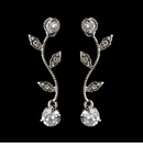 Silver Clear Round CZ Crystal Vine Drop Earrings