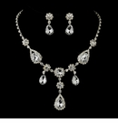 Silver Clear Stone Necklace & Earrings