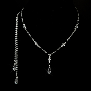Silver Clear Swarovski Crystal Lariat Drop Necklace