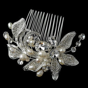 Silver Freshwater Pearl & Rhinestone Floral Comb