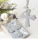 Silver Glitter Cross Ornament