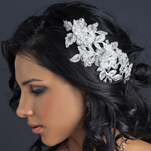 Silver Ivory & Light Silver Floral Thread Embroidery Flexible Headband