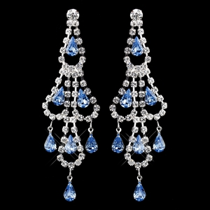 Silver Light Blue & Clear Teardrop Rhinestone Chandelier Earrings