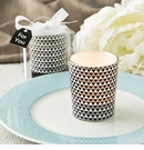 Silver Modern Graphic Design Glass Candle Votive Holder