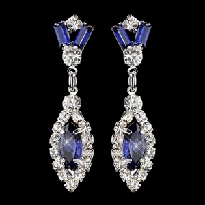 Silver Navy & Clear Marquise Baguette Round Rhinestone Drop Earrings