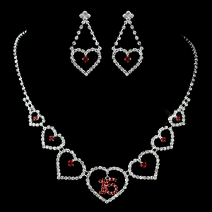 Silver & Red Sweet Sixteen Jewerly Set