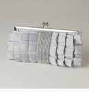 Silver Satin Ruffle Evening Bag with Rhinestone Banding