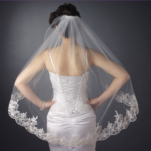 Single Layer Fingertip Length Scalloped Floral Veil