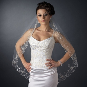Single Layer Scalloped Veil