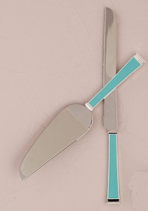 """""""Something Blue"""" Silver Plated Cake Serving Set"""