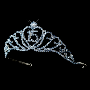 Sparkling Light Blue Covered Quinceañera Rhinestone Tiara in Silver