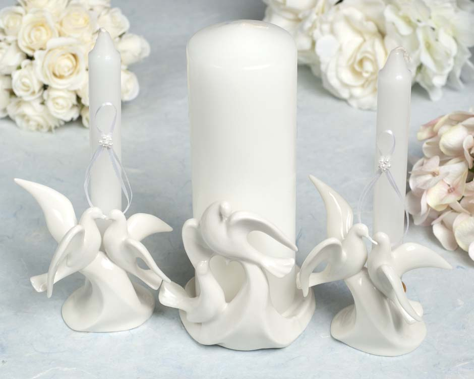 stylized dove wedding unity candle holder