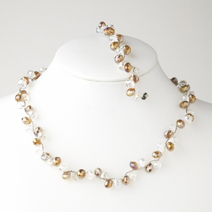 Topaz Silver Clear Necklace Bracelet Set