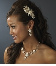Tropical Flowers Bridal Necklace & Clip On Earring