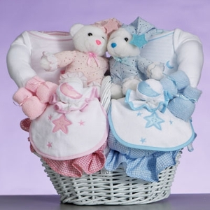 Twins Celestial Baby Gift Basket