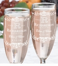 Vineyard Monogram Champagne Flutes