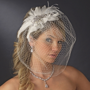 Vintage Couture Feather Bridal Headpiece with Bird Cage Veil Clip