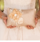 Vintage Inspired Burlap Chic Ring Pillow