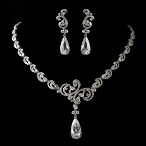 Vintage Silver Clear CZ Crystal Necklace & Earrings
