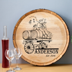 Wine Barrel  Wagon Home Decor Sign