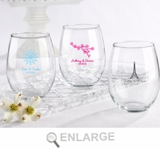 Personalized Printed Stemless Wine Glass 15 oz Wedding Favors