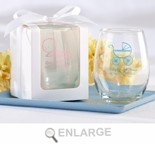 Personalized Printed Stemless Wine Glass Baby Shower Favors