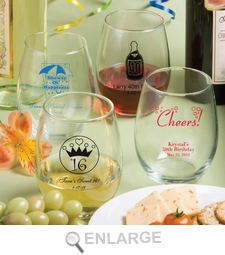 Personalized Stemless Wine Glass Sweet 16 Favors 15 Oz