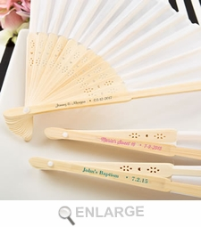 Personalized White Silk Folding Fan