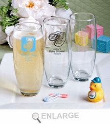 Silkscreened Glassware Stemless Champagne Flute Baby Favors