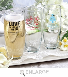 Silkscreened Glassware Stemless Champagne Flute Wedding Favors