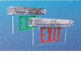 Green LED Exit Sign - White Double Face - AC - Recessed - White Housing – BBU - (TCP Brand)