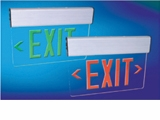 Green LED Exit Sign - White Double Face - AC - Surface Mount - White Housing - BBU - (TCP Brand)