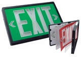 Green  Single Face Exit Sign - 10 Year Self Luminous - Black Housing - (TCP Brand)