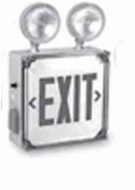 Red Exit Lighting Combination - Wet Location - BBU - White Housing – Single Face -  (TCP Brand)