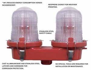 TWR LED Obstruction Lighting - OL2 Cast LED FAA Type L-810 - 120-240 VAC