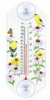Goldfinch, Flowers, and Butterfly Classic Window Thermometer