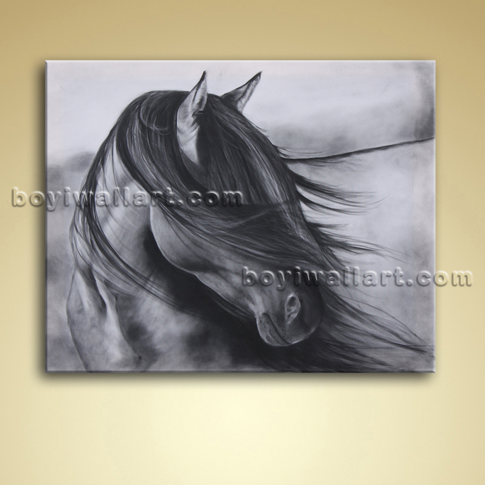 Wall Art Black Horse : Contemporary abstract wall art black and white horse