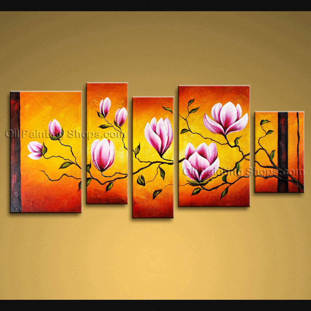 Extra large wall art modern abstract painting tulip flower for Extra large wall art