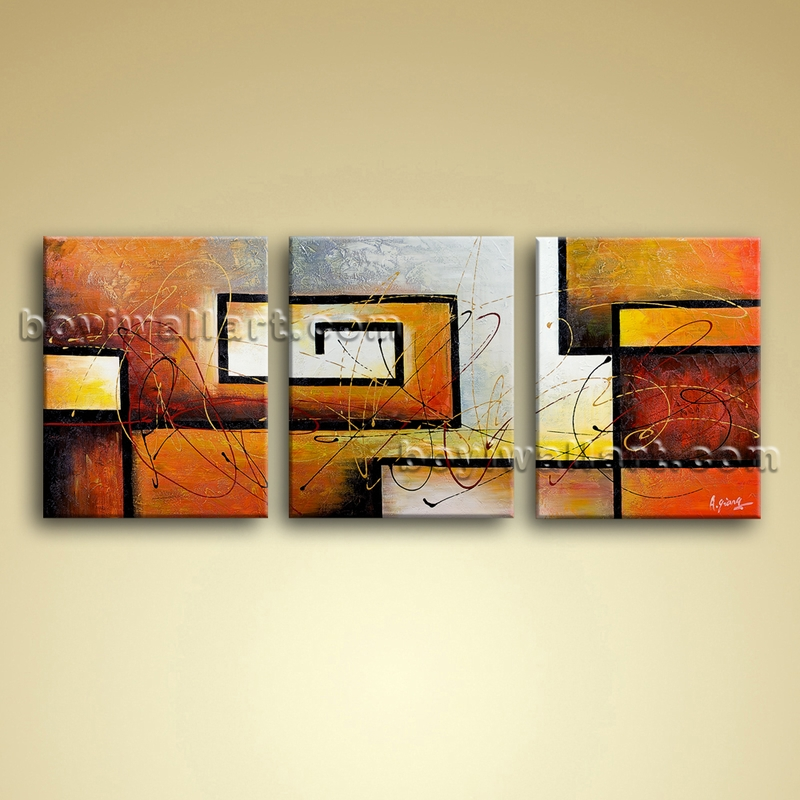 large 3 pc modern abstract canvas wall art giclee oil contemporary framed boyi. Black Bedroom Furniture Sets. Home Design Ideas